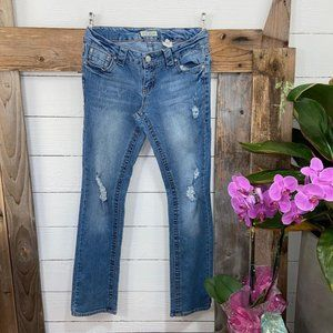 Paris Blues Junior Jeans Straight Leg Distressed